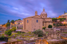 Roman Forum At Dawn, Rome, Italy, With Brick Curia And Church Of