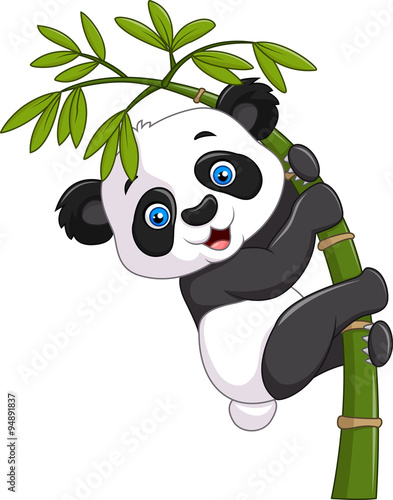 Photo  Cute funny baby panda hanging on a bamboo tree