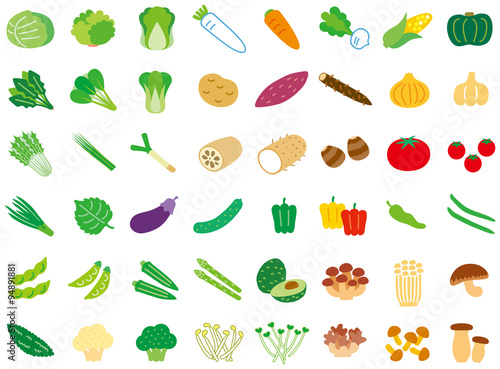 Fototapeta シンプル野菜セット obraz