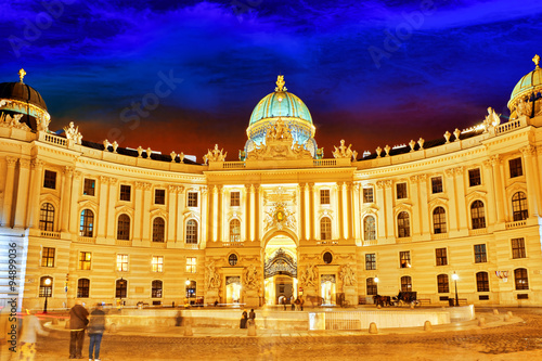 Hofburg Palace seen from Michaelerplatz, wide-angle view at dusk