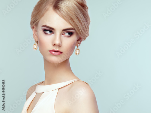 Fotografie, Obraz  Portrait of beautiful sensual woman with elegant hairstyle
