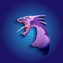 Dragon Head Purple With Open Jaw
