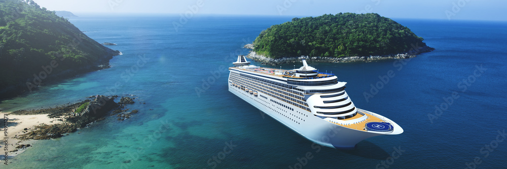 Fototapety, obrazy: 3d Cruise Ship Vacation Holiday Summer Illustration Concept