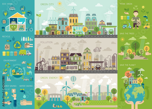 Photo  Green city Infographic set with charts and other elements.
