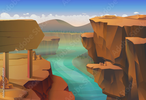 Canvas Print Canyon, nature vector background