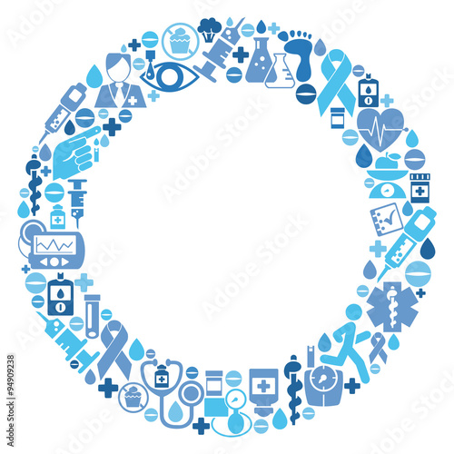 Blue circle made of Diabetes treatment medical icons ...