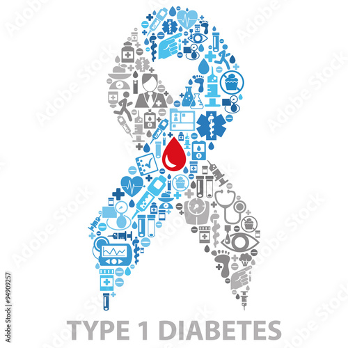 Diabetes Awareness Ribbon Made Of Medical Icons Isolated On White