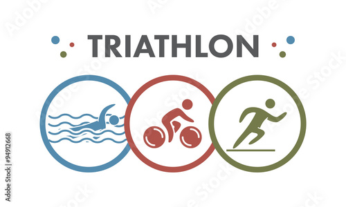 Triathlon logo and icon. Swimming, cycling, running symbols Canvas Print