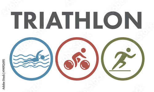 Photo Triathlon logo and icon. Swimming, cycling, running symbols