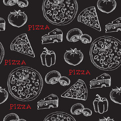 FototapetaSeamless pizza pattern. Retro design. Vector illustration.