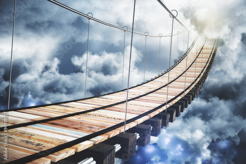 Canvas Prints Bridge Long wood stairway to the sky with clouds