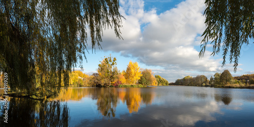 Autumn woodland scene in the Ukrainian Lake
