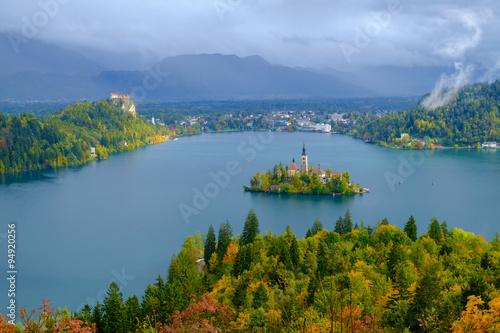 Fototapeta Lake Bled and the island with the church in autumn obraz na płótnie