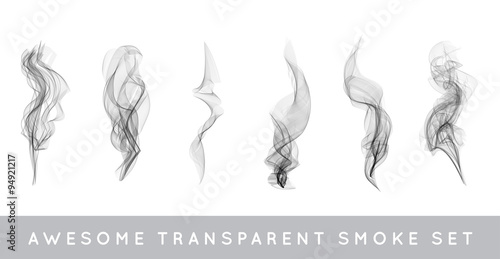 Foto op Aluminium Rook Vector Collection or Set of Realistic Cigarette Smoke or Fog or Haze with Transparency Isolated can be used with any Background