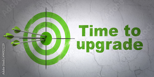 Fotografía  Timeline concept: target and Time To Upgrade on wall background