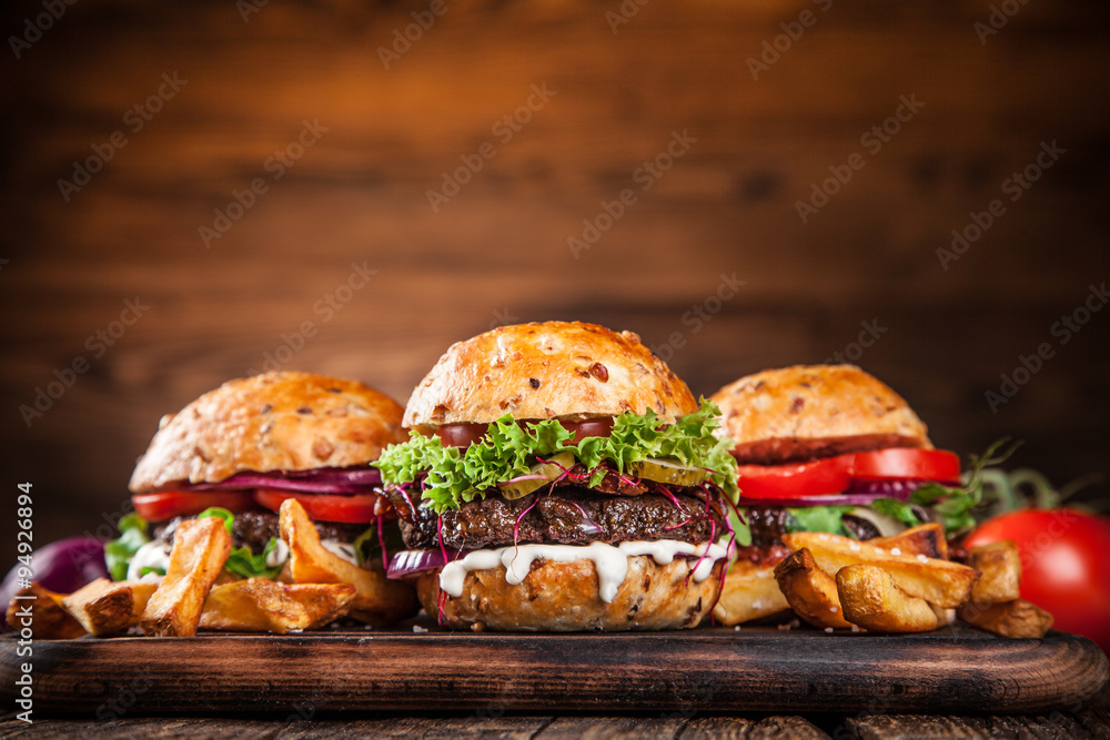 Fototapety, obrazy: Close-up of home made burgers