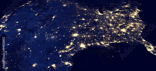 Deurstickers Nasa USA by night, original satellite picture - Elements of this image furnished by NASA