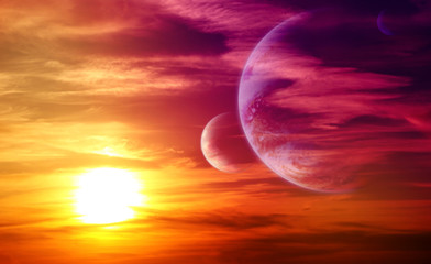 Beautiful sunset, cloud and planets