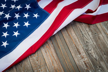 American Flag On Wood Background