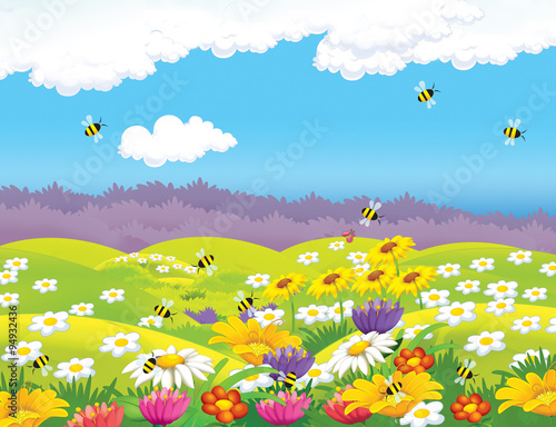 plakat Happy cartoon meadow scene - illustration for the children