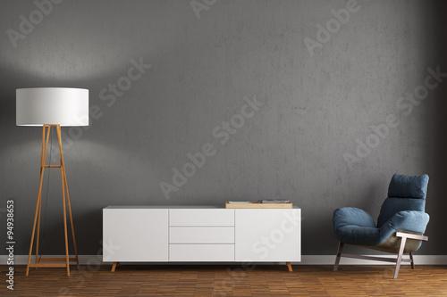 Fotografia, Obraz  Sessel, Sideboard und Stehlampe vor grauer Wand