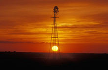 Windmill At Sunset In Forgan, OK