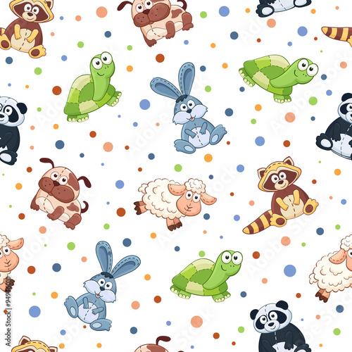 jednolite-wzor-z-wypchanych-zabawek-tlo-zwierzeta-kreskowka-kot-lew-mysz-slon-zolw-owca