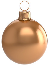 Christmas Ball New Year's Eve Bauble Golden Wintertime Decoration Sphere Hanging Adornment Classic. Traditional Winter Holidays Home Ornament Merry Xmas Event Symbol Shiny Blank. 3d Render Isolated