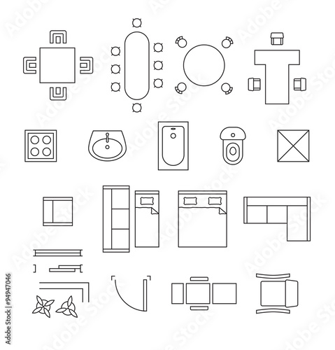furniture linear vector symbols floor plan icons set buy this stock vector and explore. Black Bedroom Furniture Sets. Home Design Ideas