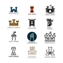 Castle, Fortress Vector Logo Set