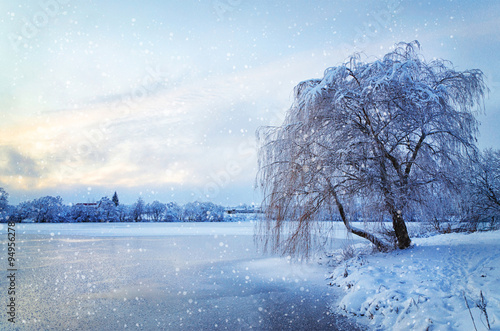 Winter landscape with lake and tree in the frost with falling sn