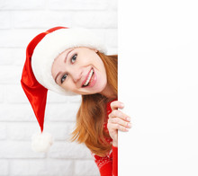 Happy Woman At Christmas With Blank Empty White Poster