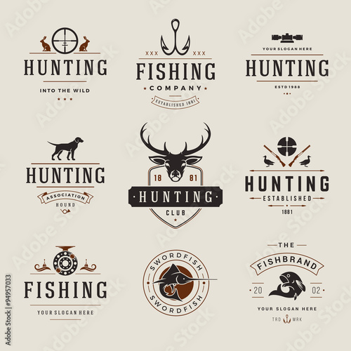 Set of Hunting and Fishing Labels, Badges, Logos Vector Design