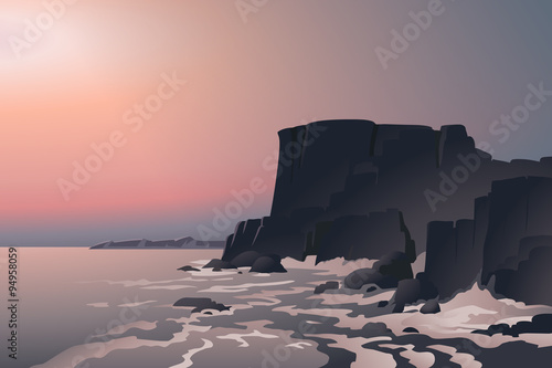 Tablou Canvas Vector illustration of beautiful sea landscape, with rocks on seashore, big waves and the heavy mist in the background
