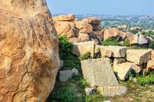 Landscape With Big Stones - Unique Mountain Formation. Hampi, India