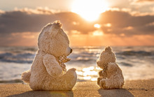 Teddy Bears Sitting On The Beautiful Beach With Love. Concept Ab