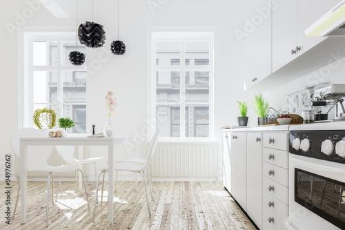 Moderne Kuche Mit Esstisch In Neuem Haus Buy This Stock
