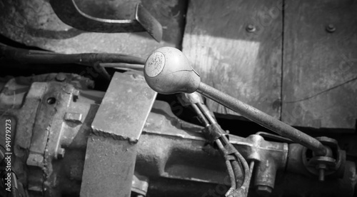 old car gear lever focus on the numbers. Canvas Print
