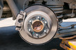 Brakes on a car with removed wheel