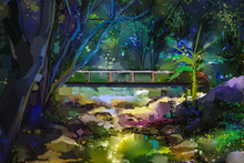 Oil Painting Landscape With Wooden Bridge Over Creek In Forest. Hand Painted Colorful Summer Nature Forest With Yellow And Green- Blue Color