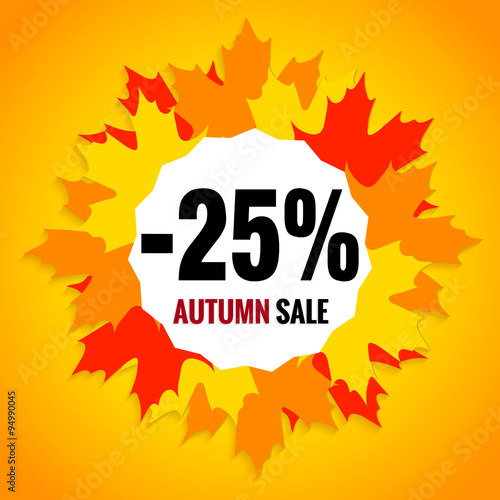 autumn sale falling prices 25 discount fall maple leaves colorful red