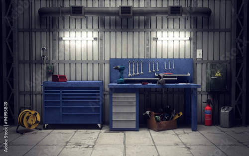 Obraz Garage workshop. 3d rendering - fototapety do salonu