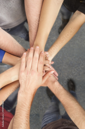 Fototapety, obrazy: Group of Friends with Hands in Stack, Teamwork