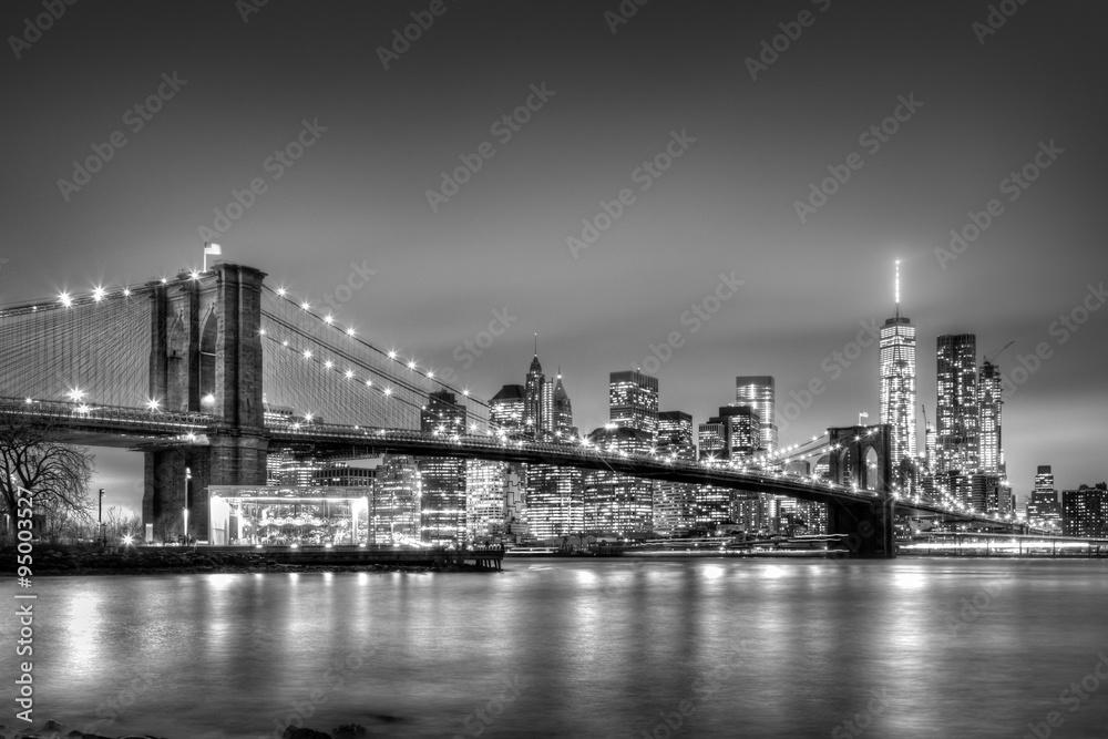 Brooklyn Most Nocą Nowy Jork Panorama Miasta Wf434 Most