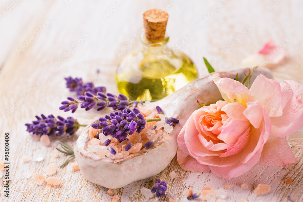 Fototapeta Spa still life with lavender and rose flower