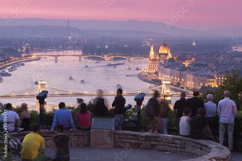 Foto op Aluminium Oost Europa Ungarisches Panorama, Budapest mit den Sehenswürdigkeiten