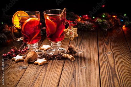 Two glasses of hot mulled wine #95018840