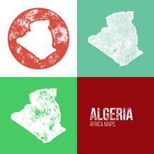 Algeria Grunge Retro Maps - Africa