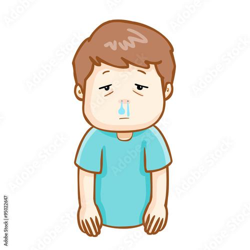 Fotografie, Obraz  ill man runny nose cartoon vector