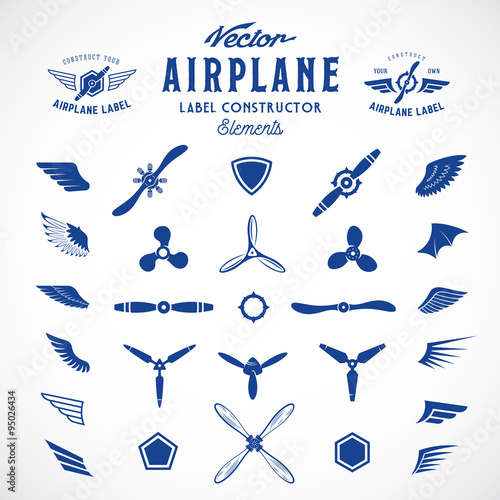 Obraz na plátně Abstract Vector Airplane Labels or Logos Construction Elements